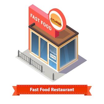 ファストフードのレストランとショップビル