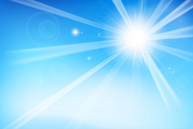 日光と抽象的な青い背景