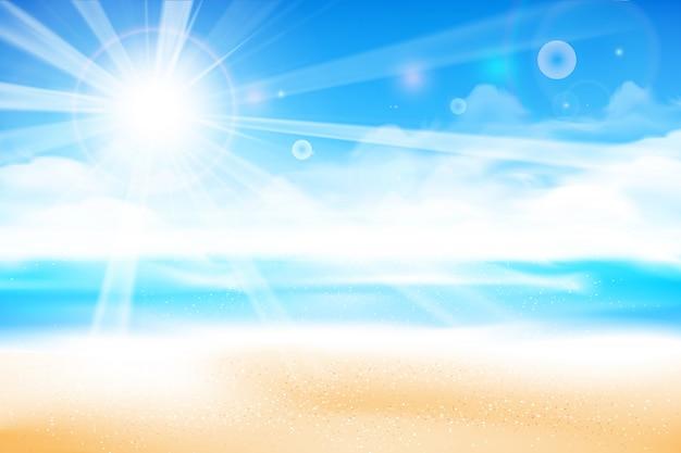 ビーチは青い空を背景にぼかし