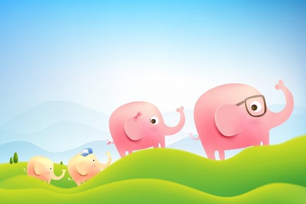 Семья слонов гуляет в лесу