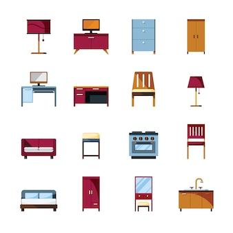 室内装飾のために設定された家具アイコン