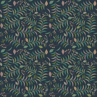 シームレスな熱帯の葉パターンベクトルイラスト