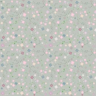 グレートーンのベクトル図でシームレスな花柄