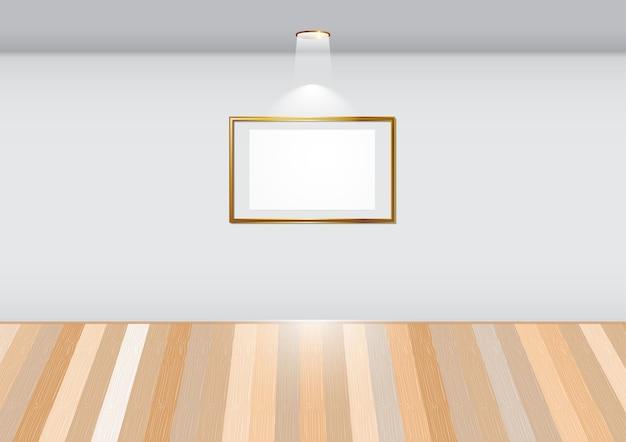 Пустая комната с пустой рамой на белой стене в галерее