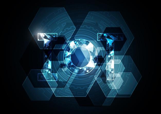 モノのインターネット技術の抽象的な六角形の背景