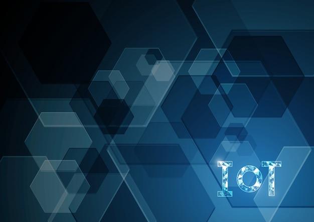 モノのインターネット技術六角形の抽象的な背景