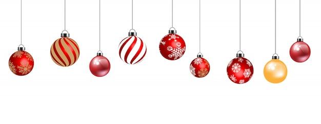 白い背景で隔離の装飾のためのクリスマスボール