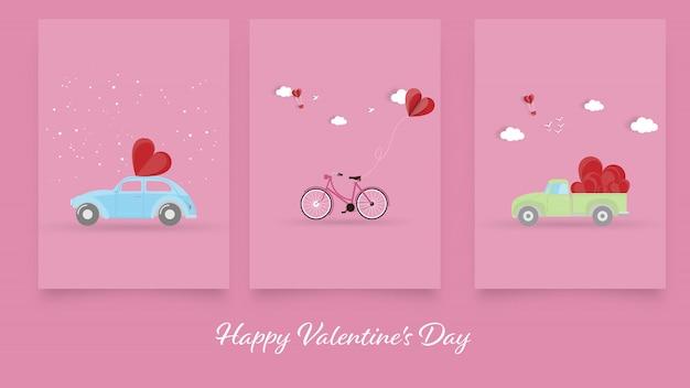 幸せなバレンタインデー、バレンタインの日グリーティングカードの背景のセット