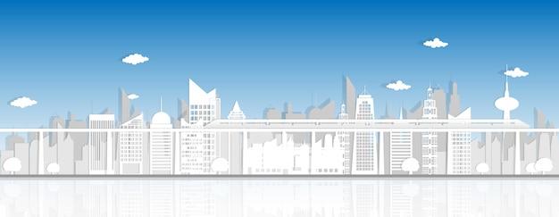 都市景観紙カットスタイルの背景
