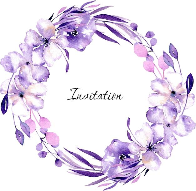 Акварельные фиолетовые рододендрон цветы и ветви венок