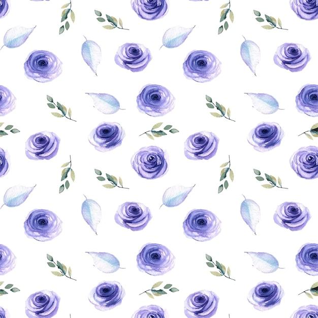 水彩の青いバラ、葉と枝のシームレスなパターン