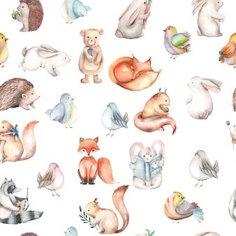 水彩画のかわいい森の動物とシームレスなパターン