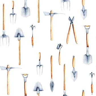 庭のツールの水彩オブジェクトとシームレスなパターン