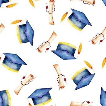 大学卒の帽子と羊皮紙の柄の模様