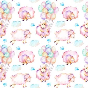 水彩のかわいいピンクの羊とのシームレスなパターン