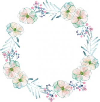 水彩の柔らかい花と葉の花輪