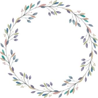 水彩画の枝からエレガントな花輪