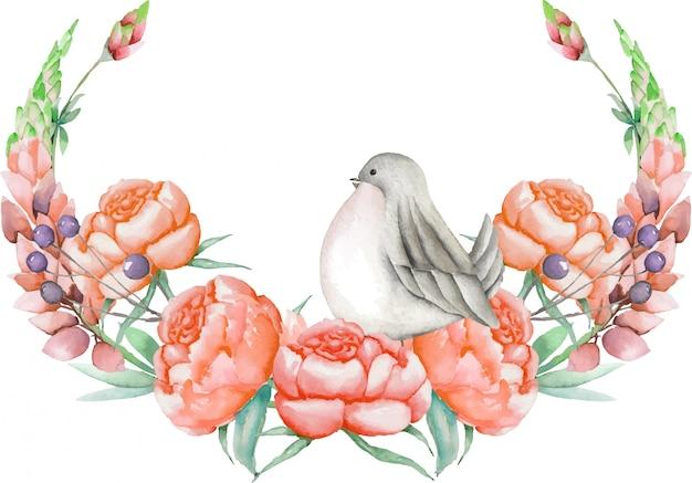 水彩のかわいい鳥と花輪