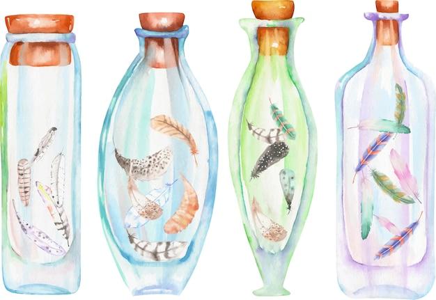 多肉植物とカクタスの中の水彩画のボトル