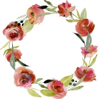 花輪、水彩バーガンディのバラとフレームの枠線