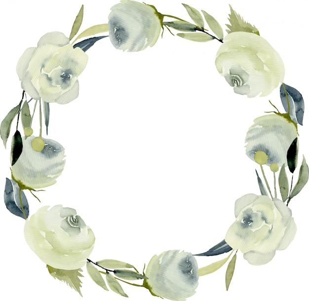 水彩の白いバラとフレームの枠線