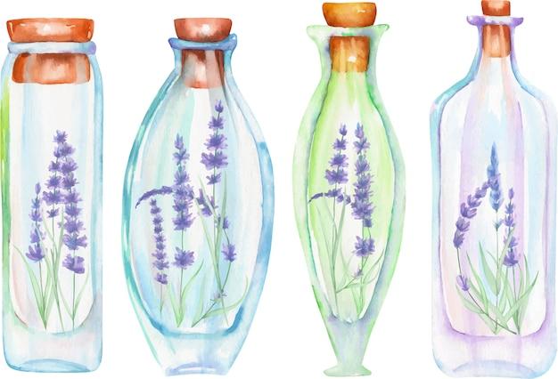 柔らかいラベンダーの花の中の水彩画のボトル