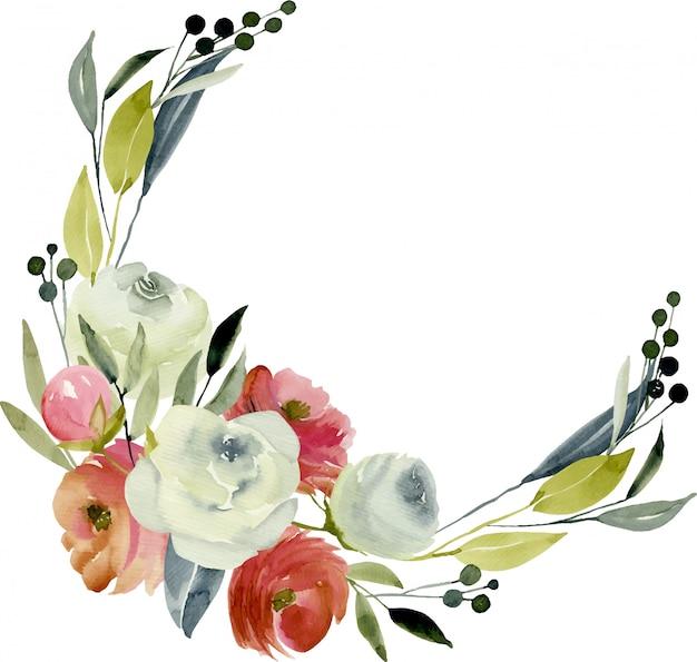 花輪、水彩バーガンディと白バラのフレームの枠線