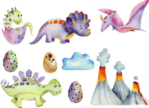 Симпатичные динозавры коллекция акварельные иллюстрации