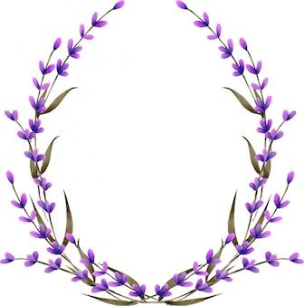 花輪、水彩のラベンダー色の花とフレームの枠線