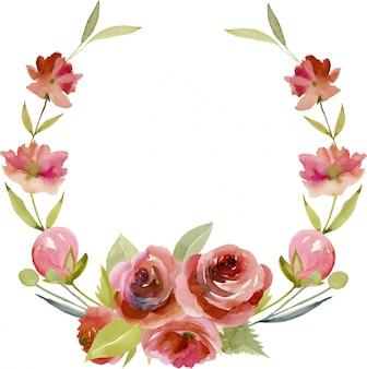 水彩ブルゴーニュバラと花輪