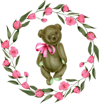 手描きのぬいぐるみぬいぐるみテディベアとピンクの花の花輪