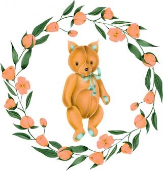 手描きの柔らかいぬいぐるみキツネとピンクの花の花輪