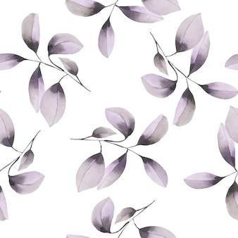 水彩の紫色の枝とのシームレスなパターン