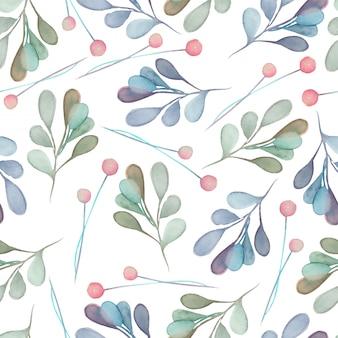 水彩画の青い枝とのシームレスなパターン