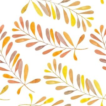 水彩の黄色と茶色の枝とのシームレスなパターン