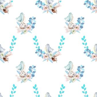 水彩のかわいい鳥と青い花のシームレスパターン