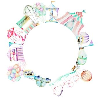 アミューズメントパークの水彩画のある円のフレーム