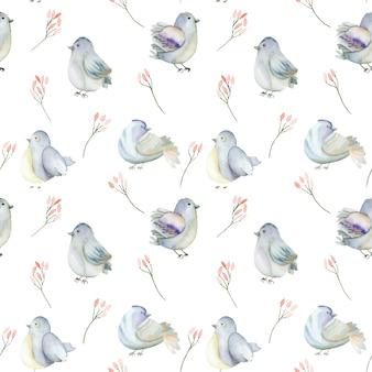水彩の青い鳥とピンクの花のシームレスパターン