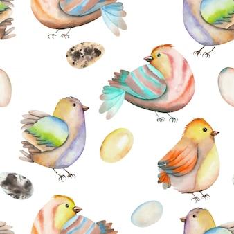 Акварельные птицы и яйца бесшовные модели