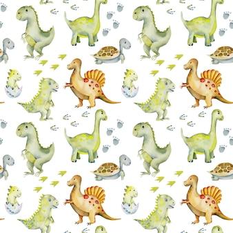 水彩のかわいい恐竜、カメ、赤ちゃんの恐竜のシームレスパターン