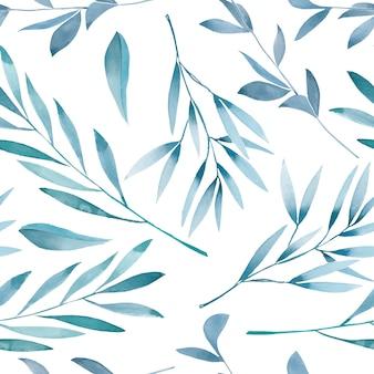 水彩の青い枝を持つシームレス花柄