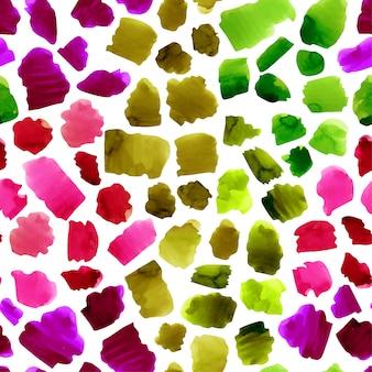水彩のカラフルな抽象的なストロークのシームレスパターン