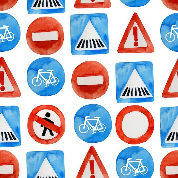 水彩道路標識のシームレスパターン