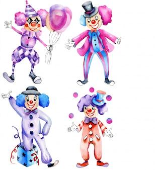 Коллекция акварельных цирковых клоунов