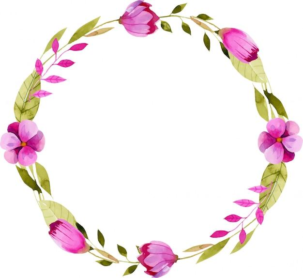 シンプルな水彩画のピンクの花と花輪