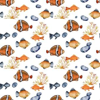 水彩のピエロ魚とのシームレスなパターン