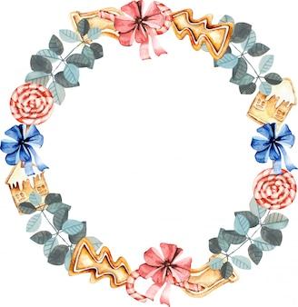 水彩ジンジャーブレッド冬の花輪