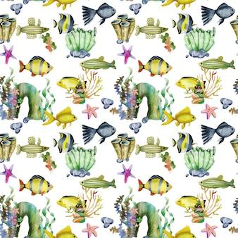 水彩の金魚と他の魚のシームレスパターン