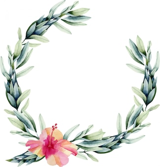 水彩ハイビスカスの花と花輪