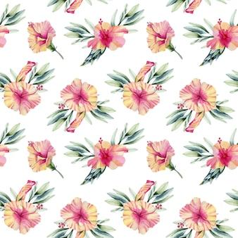 水彩ハイビスカスの花の花束のシームレスパターン